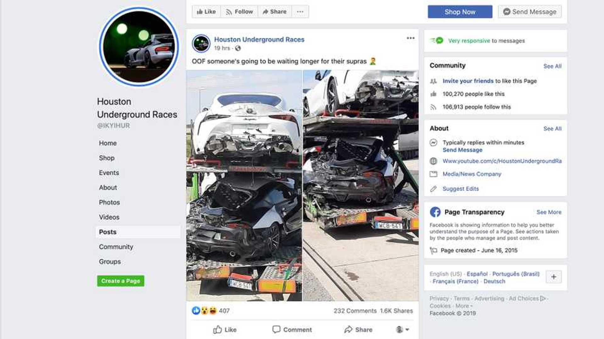 Three 2020 Toyota Supras Damaged In Transport Trailer Crash