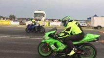 gixxer versus zx6r drag race