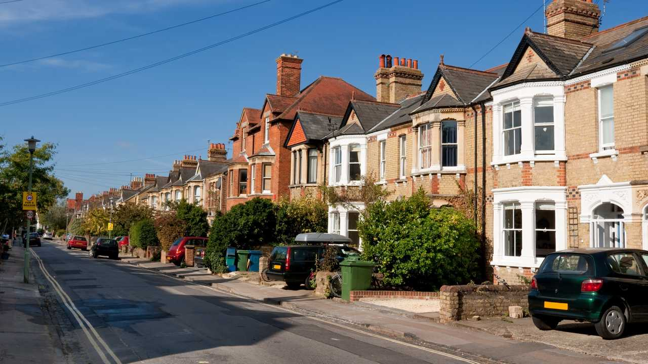 Typical houses with roadside driveways in Oxford UK