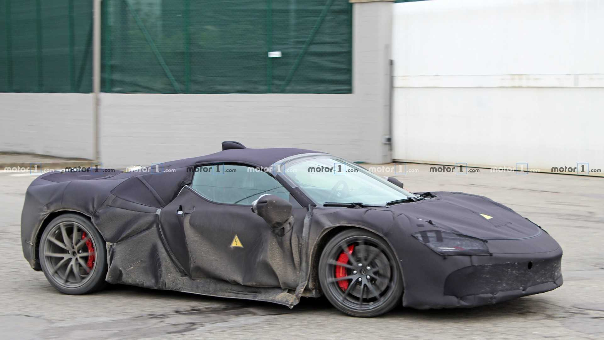Ferrari Hybrid Supercar Spotted Up Close Wearing Heavy Camo
