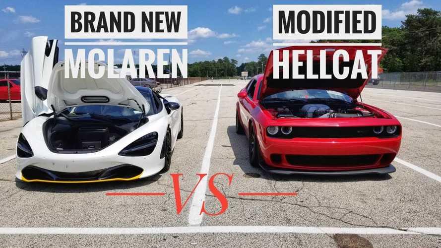 Modded Challenger SRT Hellcat Roll Races McLaren 720S