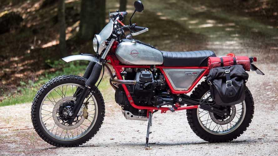 Moto Guzzi Cop Bike Molested by Italian Scrambler Fans