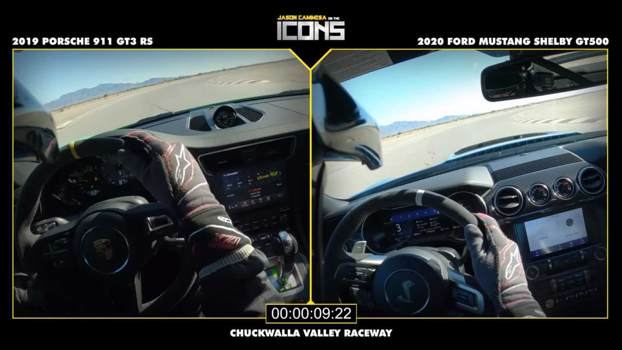 Watch Just How Close The Shelby GT500 And 911 GT3 RS Are On Track
