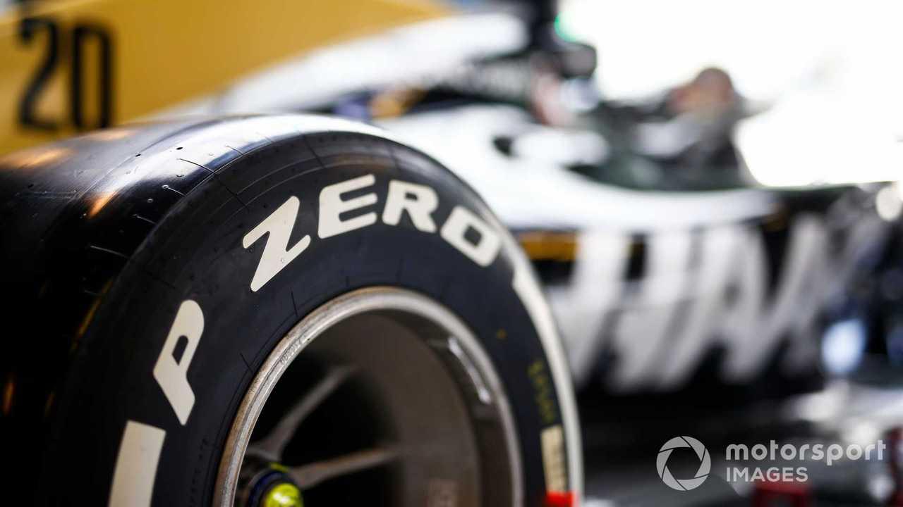 Pirelli tyre detail on Haas VF-19 at Abu Dhabi GP 2019