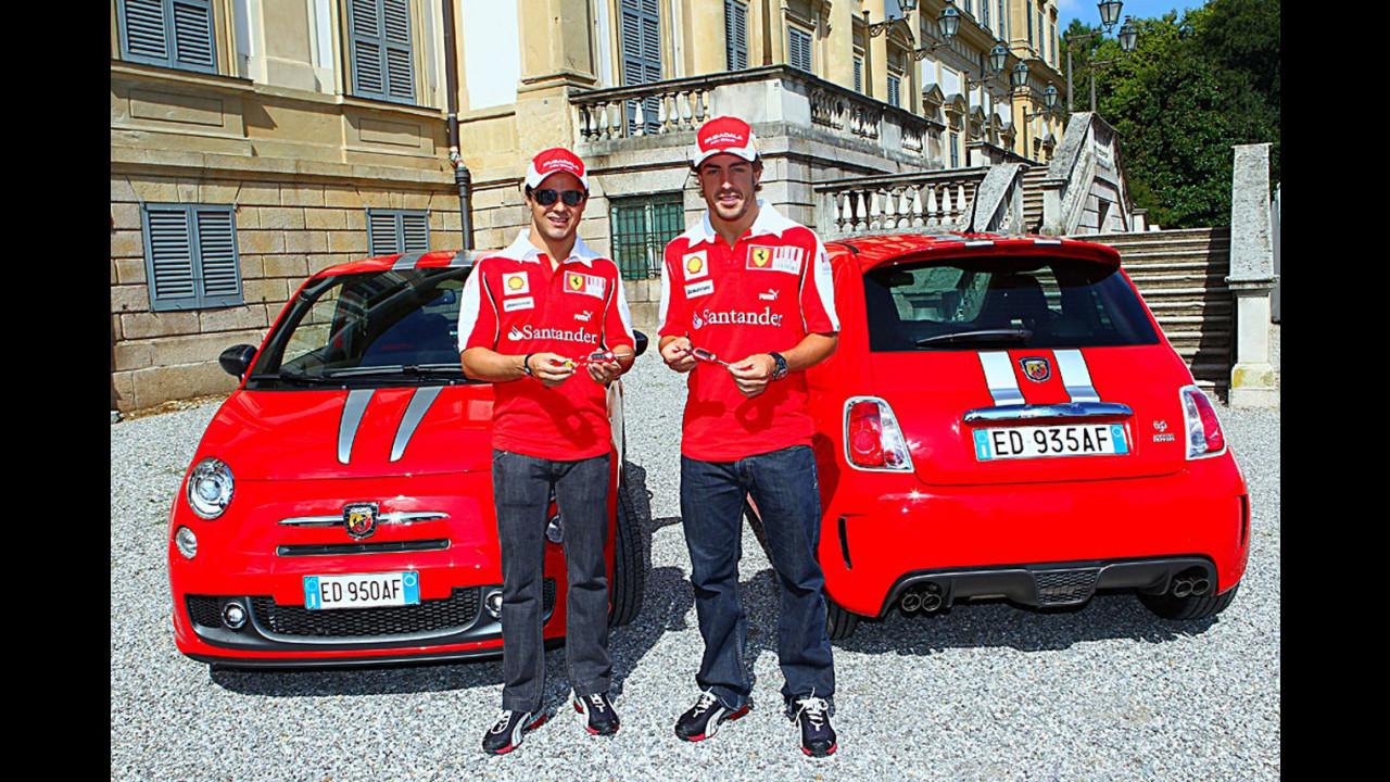 Alonso, Massa e la Abarth 695 Tributo Ferrari