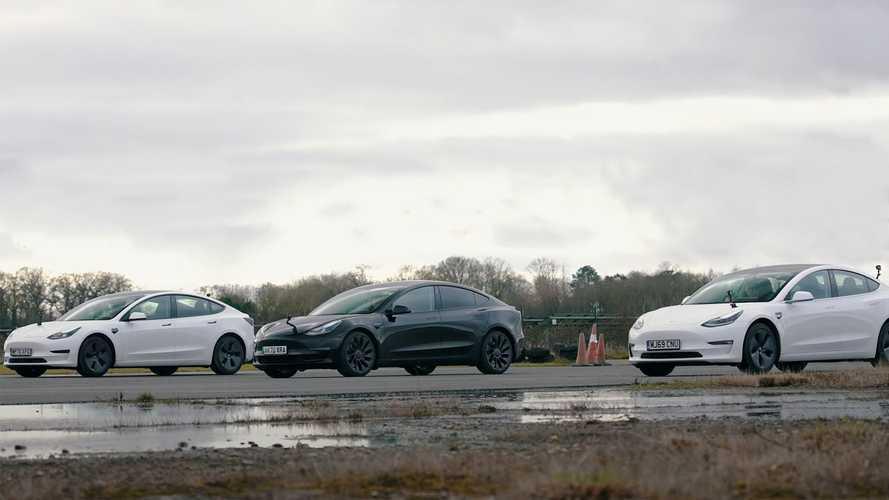Посмотрите на дрэг-противостояние разных модификаций Tesla Model 3