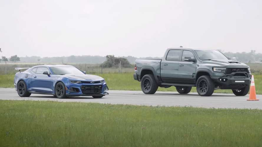 Hennessey Drag Races 900 HP Mammoth TRX Against Stock Camaro ZL1