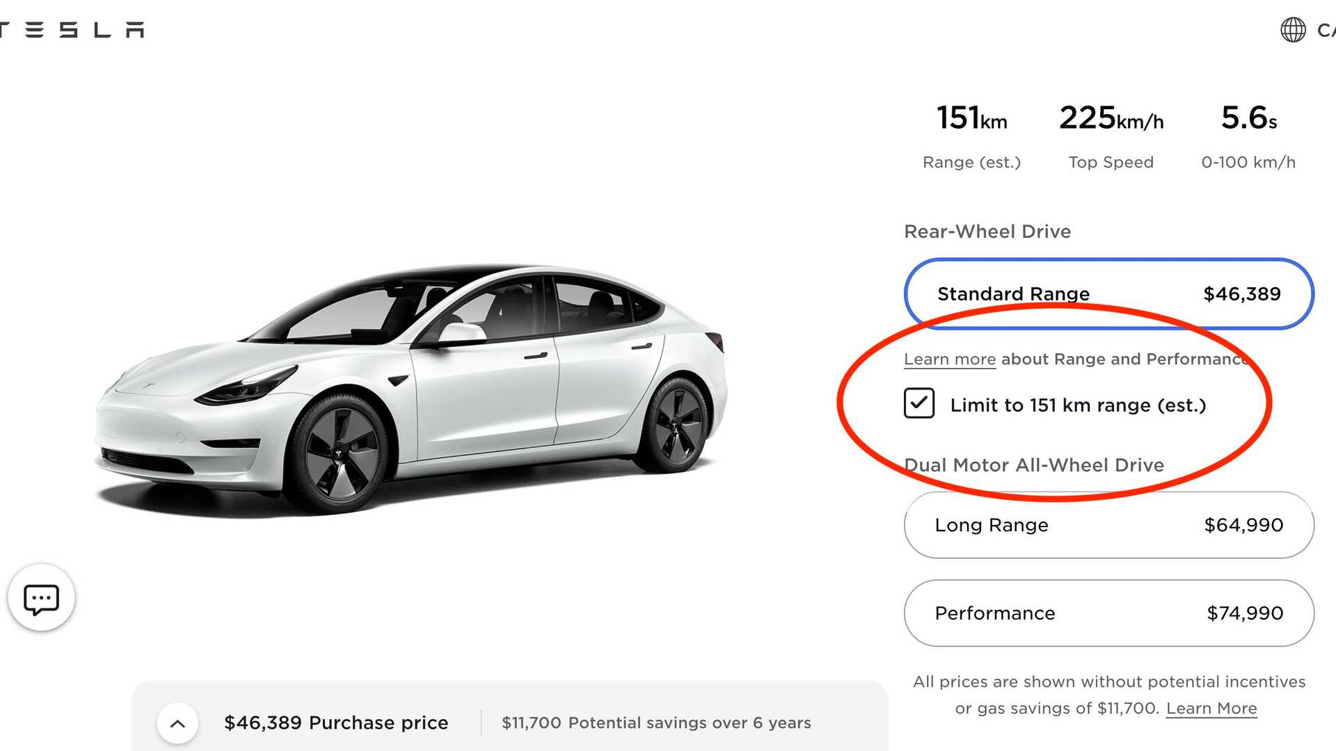 Canada's 94-Mile Range Tesla Model 3 Is Now Advertised
