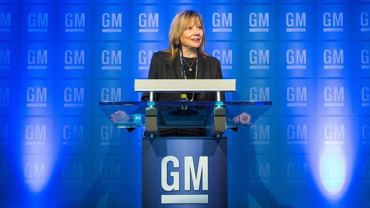 GM CEO Mary Barra talking to media