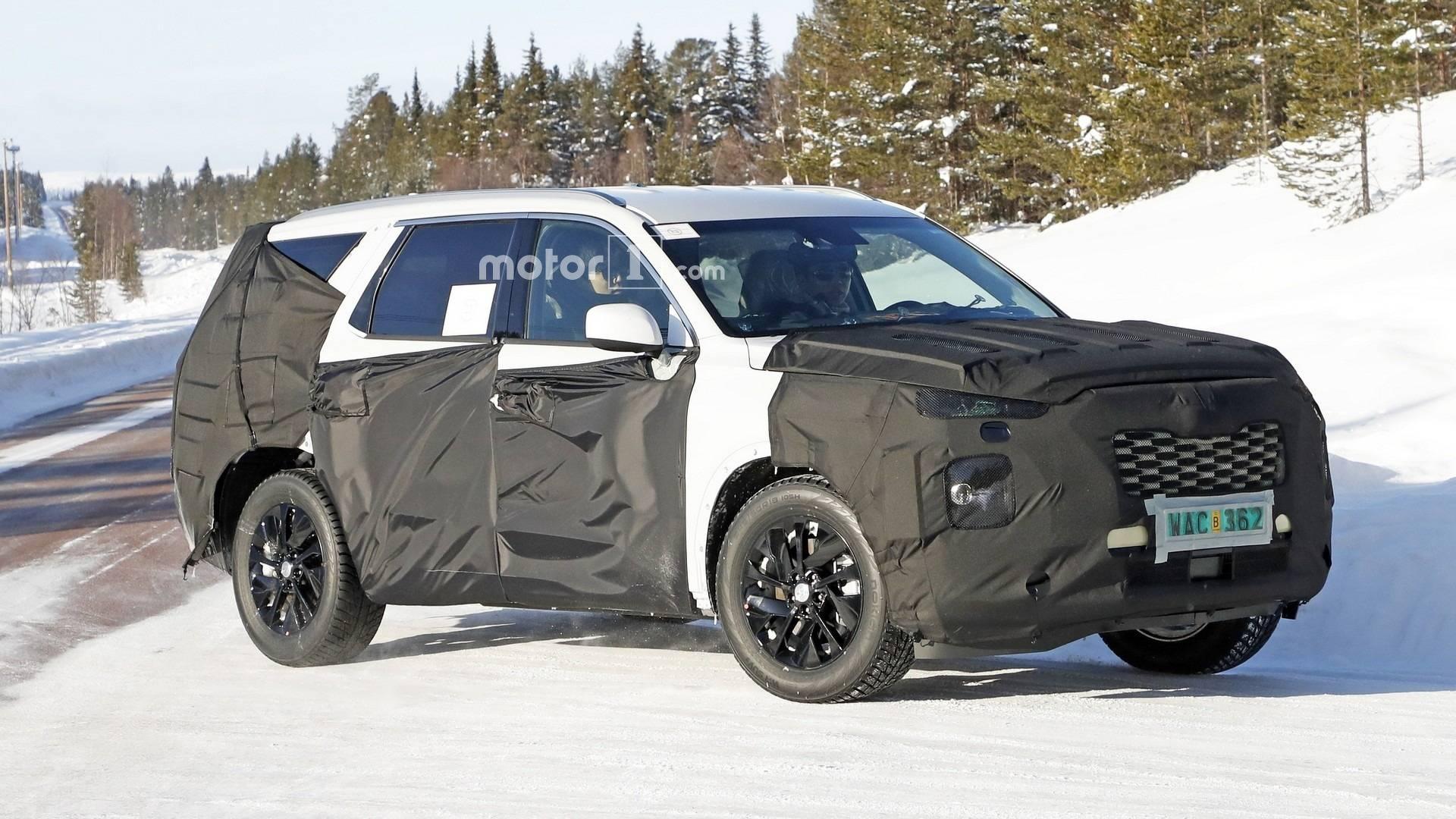 8 Seat Hyundai Suv Makes 18 Inch Wheels Look Small In Spy Shots