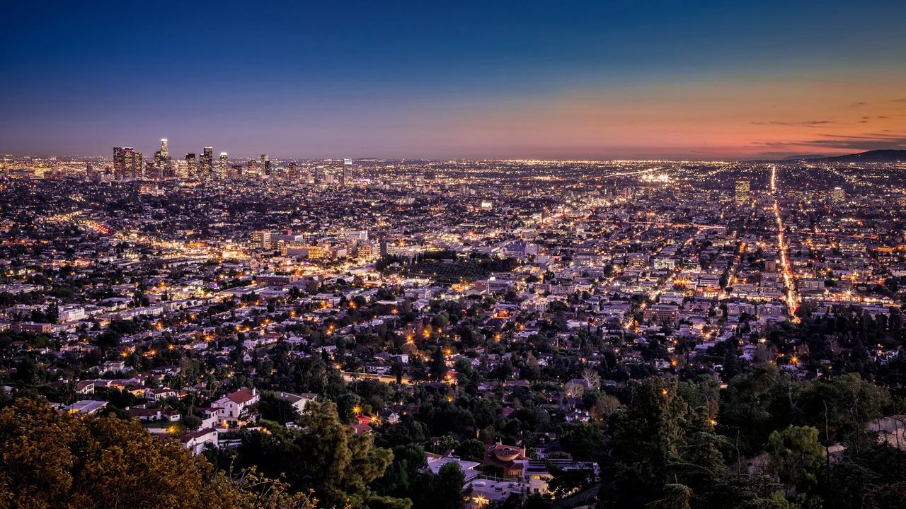 LA Traffic at night. Los Angeles