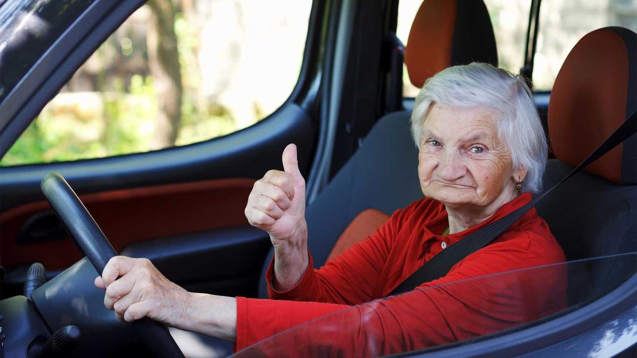 Confident eldery driver