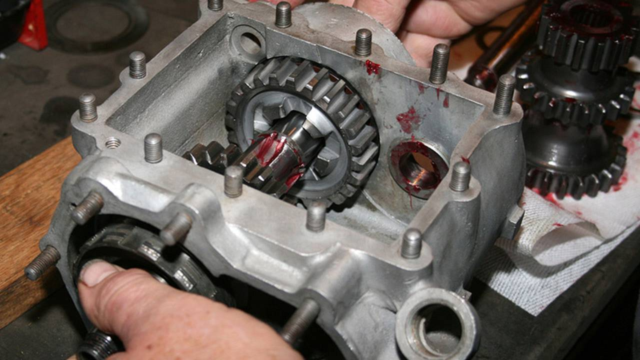 Experience goes a long way when rebuilding an original HD three speed transmission. Photo by Panhead Jim.
