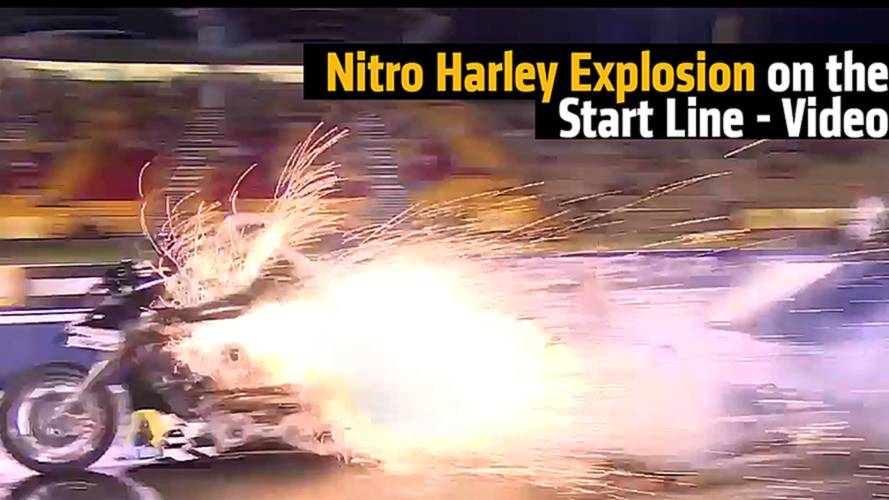 Nitro Harley Explosion on the Start Line - Video