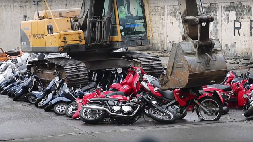 A Collection of 100 Motorcycles Crushed in Philippines