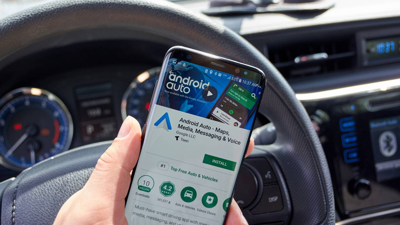 Google Android Auto app on a cell phone in car