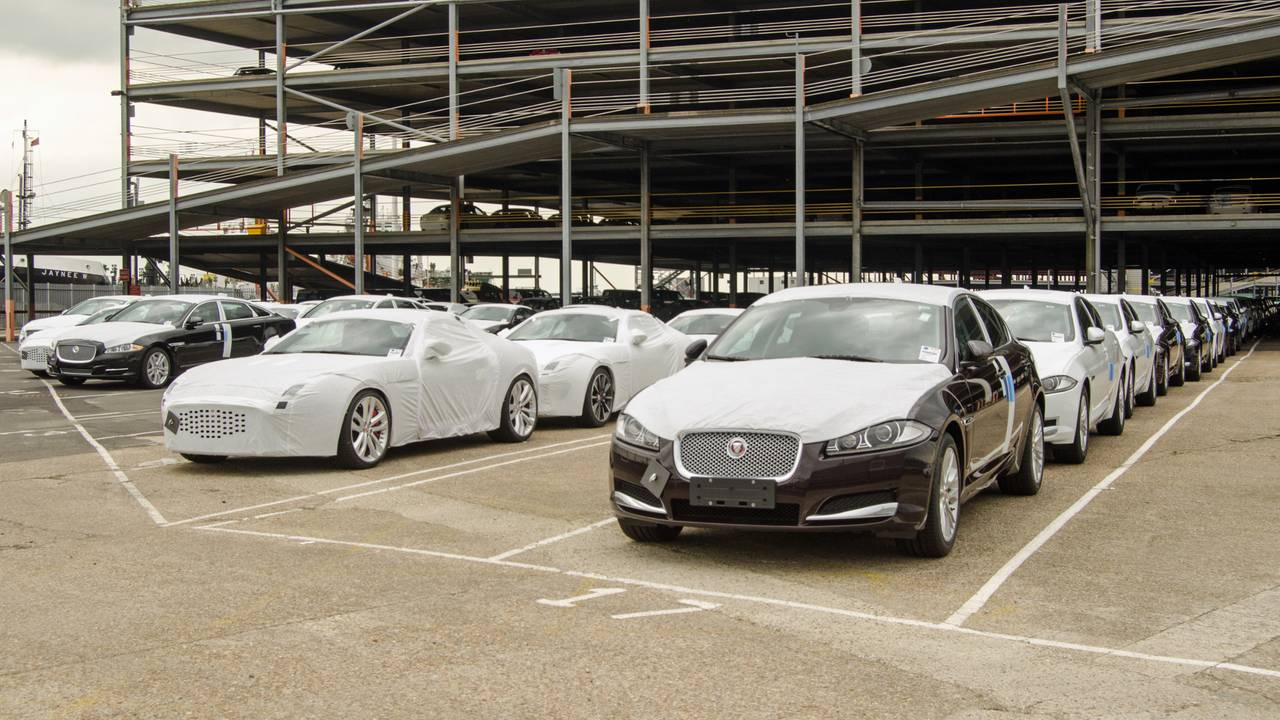 New Jaguar cars at Southampton docks before being exported