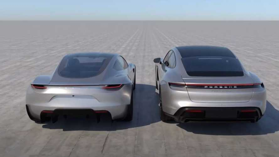 Porsche Taycan Next To Tesla Roadster