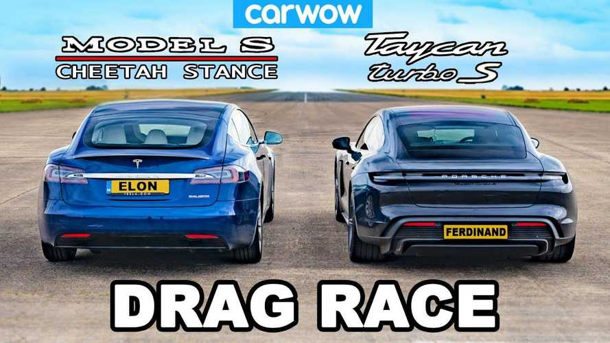 Watch Tesla Model S Raven with Cheetah race Porsche Taycan Turbo S