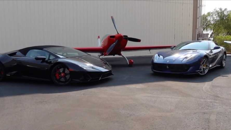 Watch Lamborghini Huracan Evo And Ferrari 812 Race A Stunt Plane