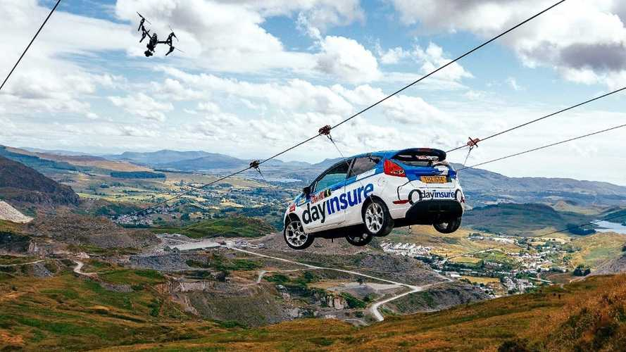 Video: Fiesta rally car completes zip wire stunt for Wales Rally GB