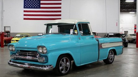 Drive off in a beautiful turquoise 1958 chevrolet cameo pick up