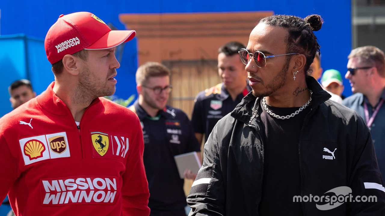 Sebastian Vettel and Lewis Hamilton at Mexican GP 2019