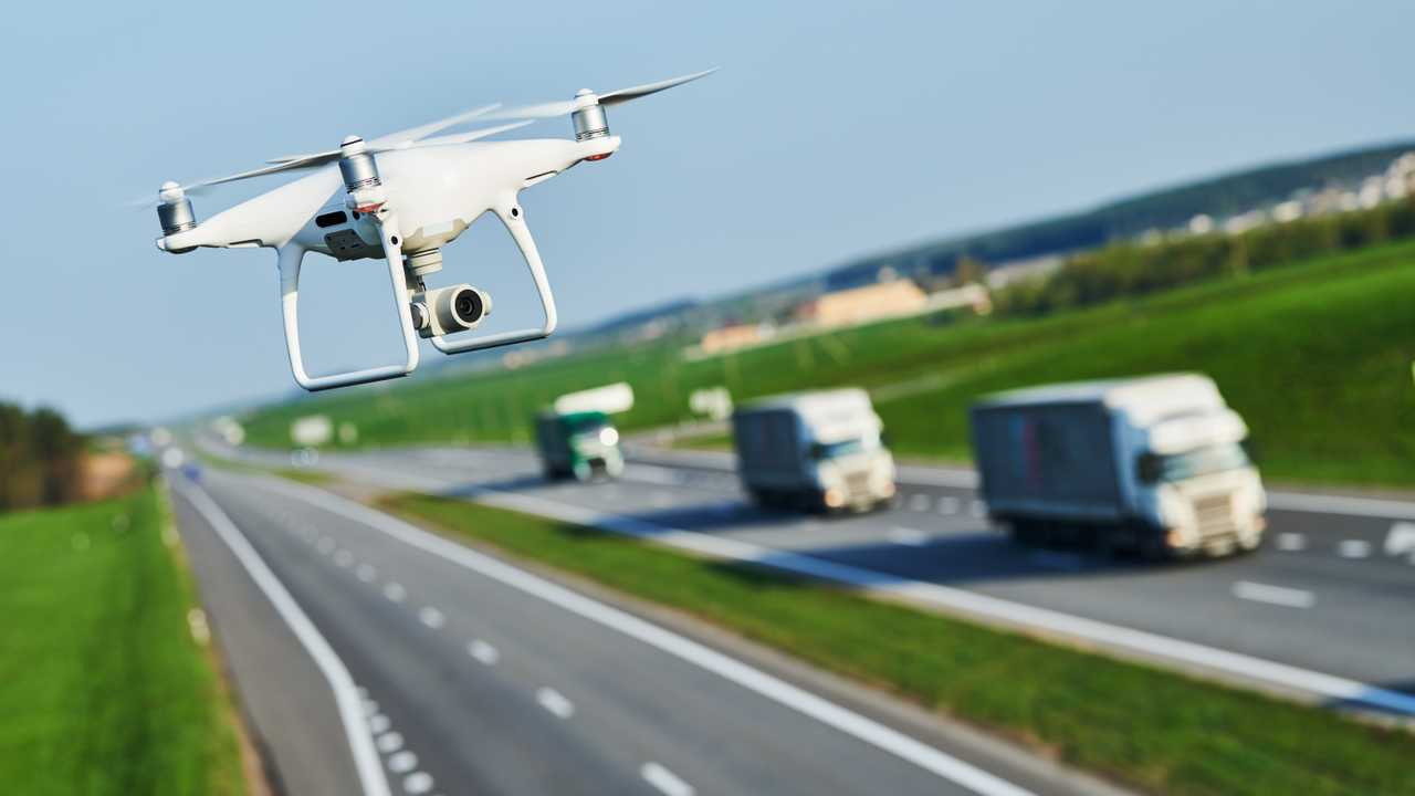 Drone with camera views motorway road conditions
