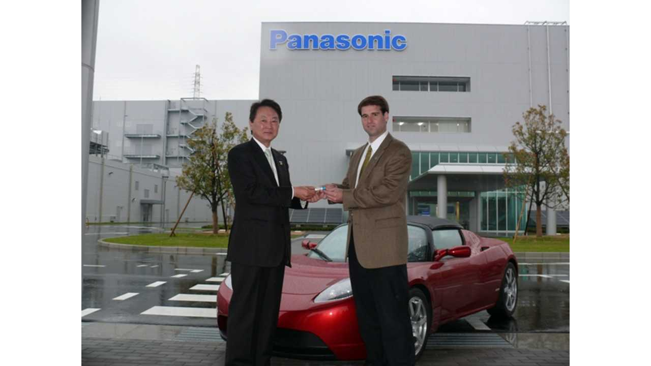 Panasonic Energy President Naoto Noguchi Gives Tesla CTO JB Straubel On Of The First 18650 Lithium-ion Cells At Panasonic's Suminoe Factory In April Of 2010