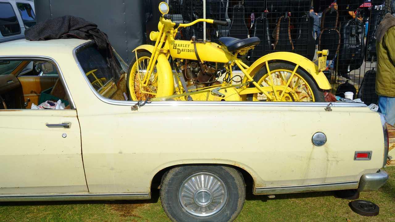 Chopperfest 1920s Harley-Davidson in a 1960s Ford Ranchero