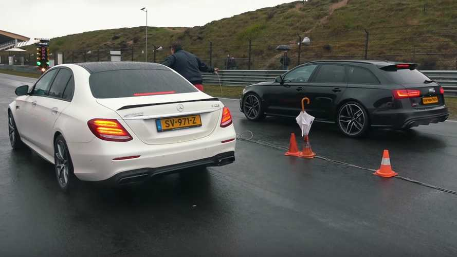 800-bhp Mercedes E-Class mops up competitors in damp drag race