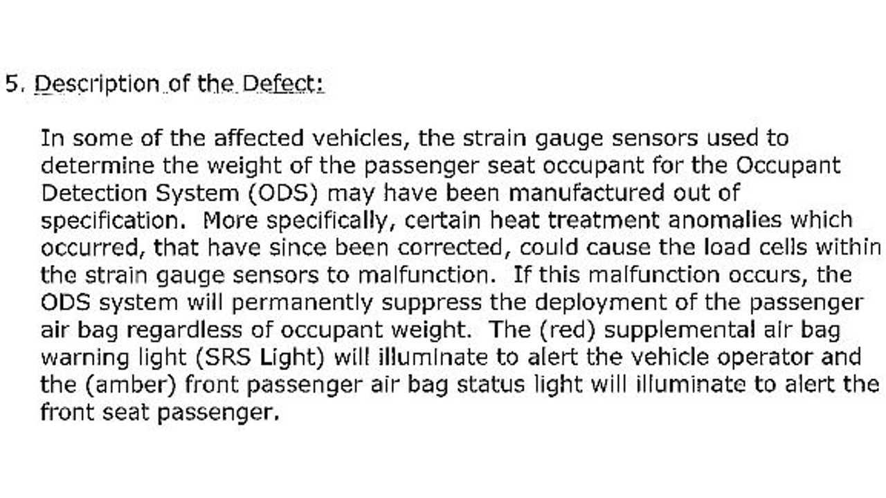 Nissan's Actual Description of the Defect