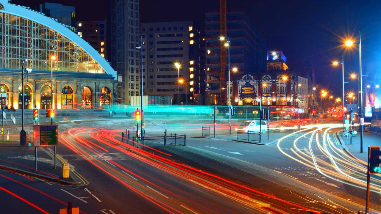 Liverpool UK Lime street train station in town centre at night