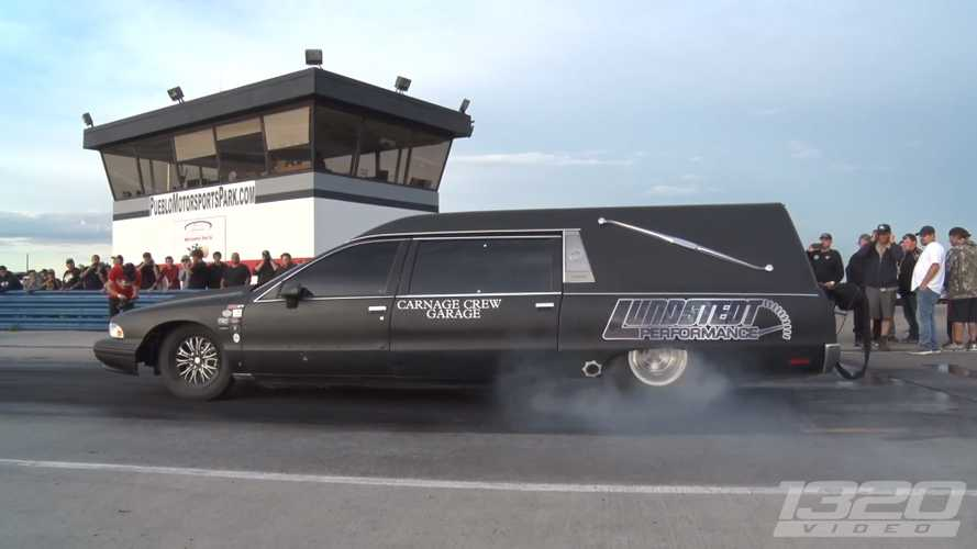 Watch This Murdered-Out Hearse Hit 140 MPH In The Quarter Mile