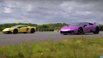 Lamborghini Aventador SV versus Huracan Performante drag race