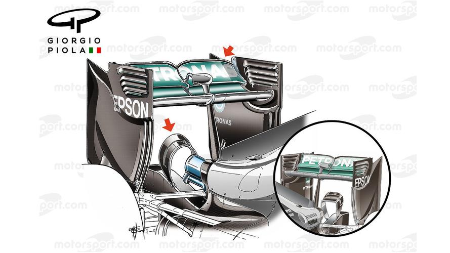 Mercedes W07 monkey seat comparison, Spain GP-Canadian GP