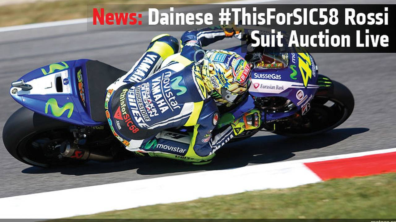 News: Dainese #ThisForSIC58 Rossi Suit Auction Live