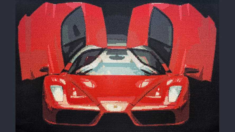 This incredible Ferrari Enzo mural is made entirely of golf tees