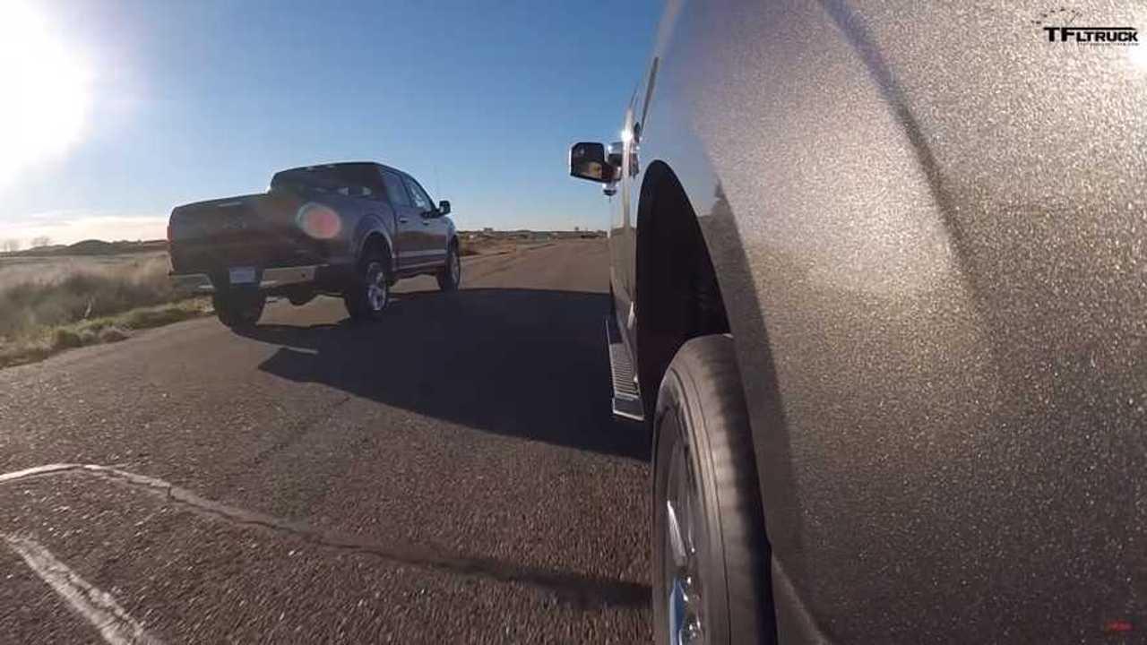 Pickup trucks drag racing