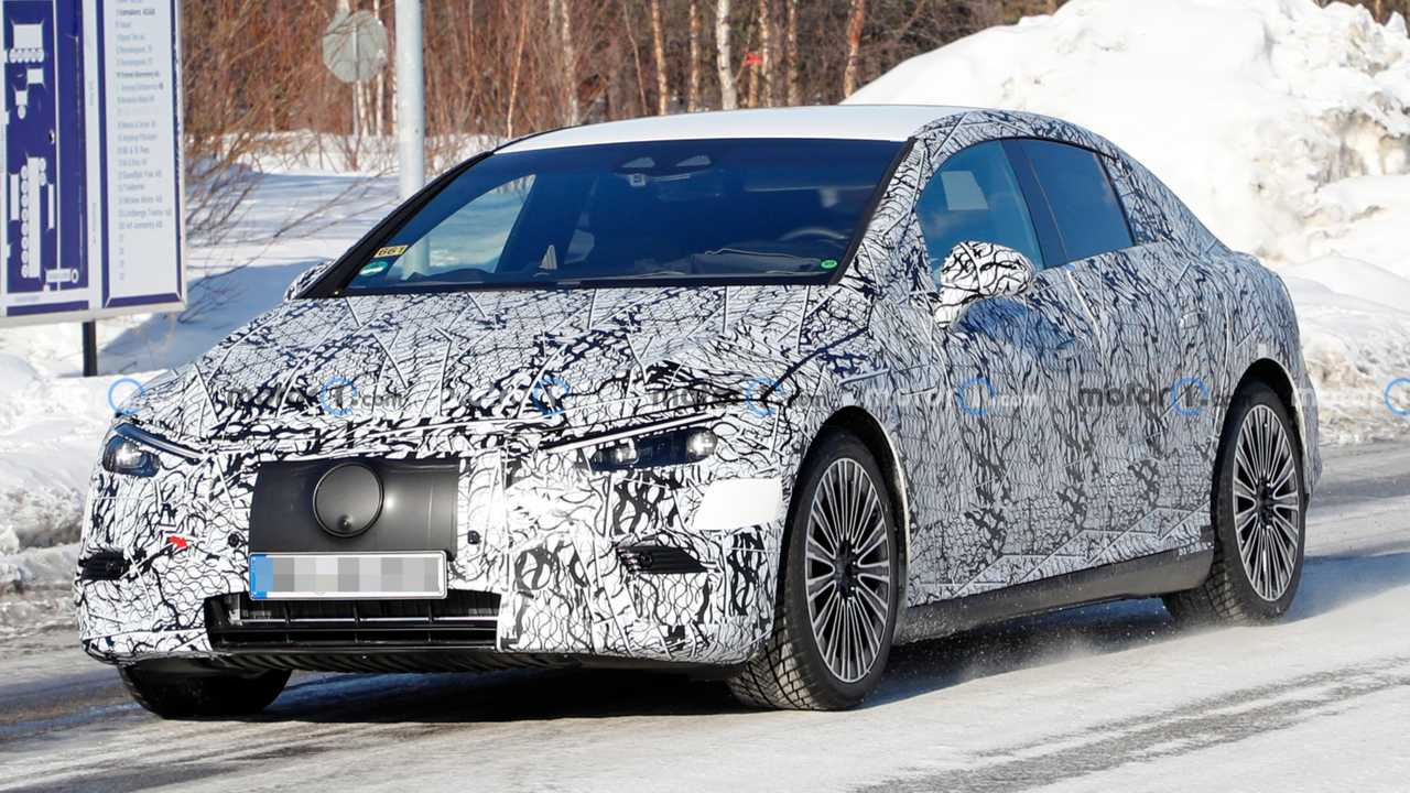 Mercedes EQE spied with production body months before its debut