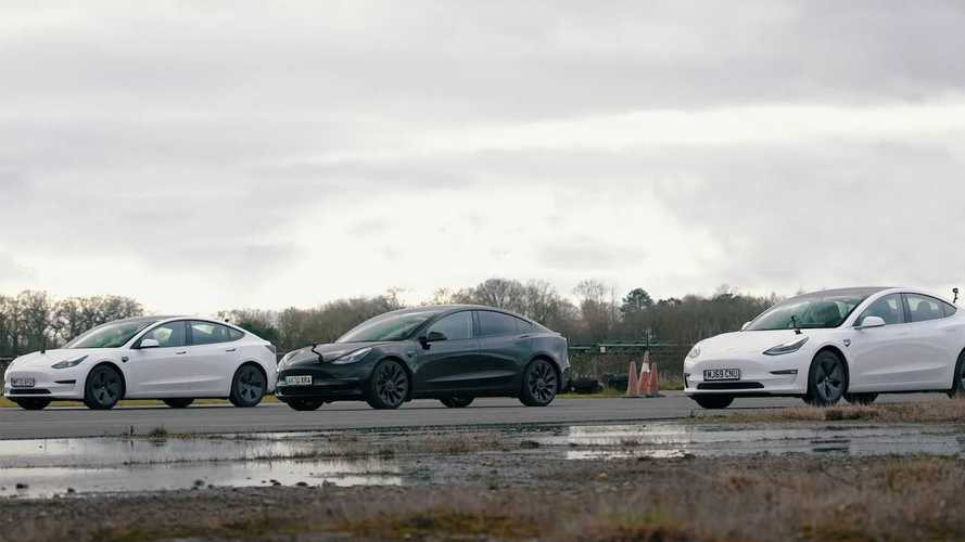 Tesla Model 3'ün 3 farklı versiyonunun yarışını izleyin
