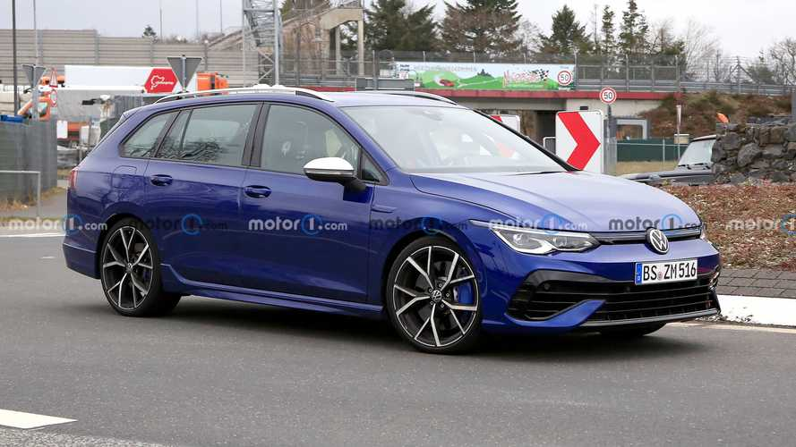 VW Golf R estate spied virtually undisguised with full roll cage