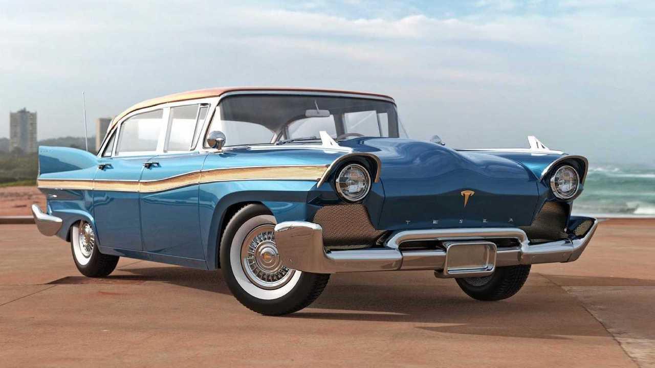 Tesla Model S dibayangkan sebagai sedan listrik klasik produksi 1957.