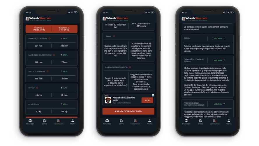 Come funziona Wheel Size, l'app dedicata al cambio gomme