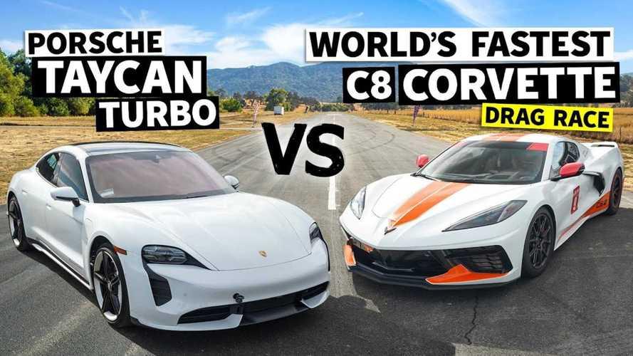 Watch Porsche Taycan Turbo Drag Race World's Fastest Chevrolet Corvette C8