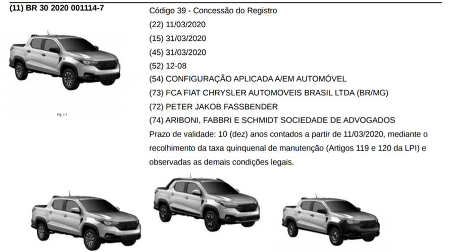 Fiat Strada 2021 Design Registration Images