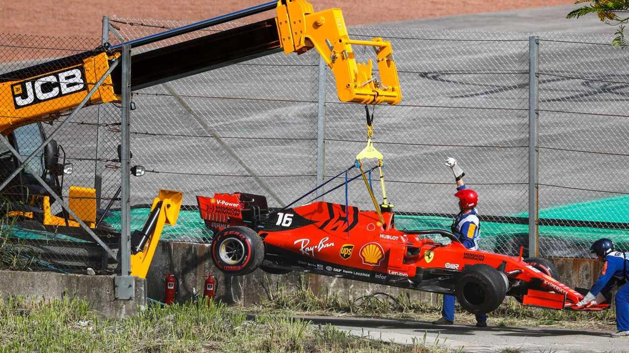 Damaged car of Charles Leclerc, Ferrari SF90