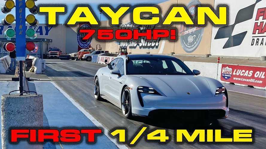 Porsche Taycan Turbo S'in 400 metreyi 10.5 saniyede geçişini seyredin