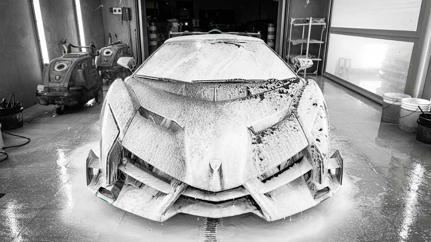 Watch a Lamborghini Veneno get pampered with car detailing