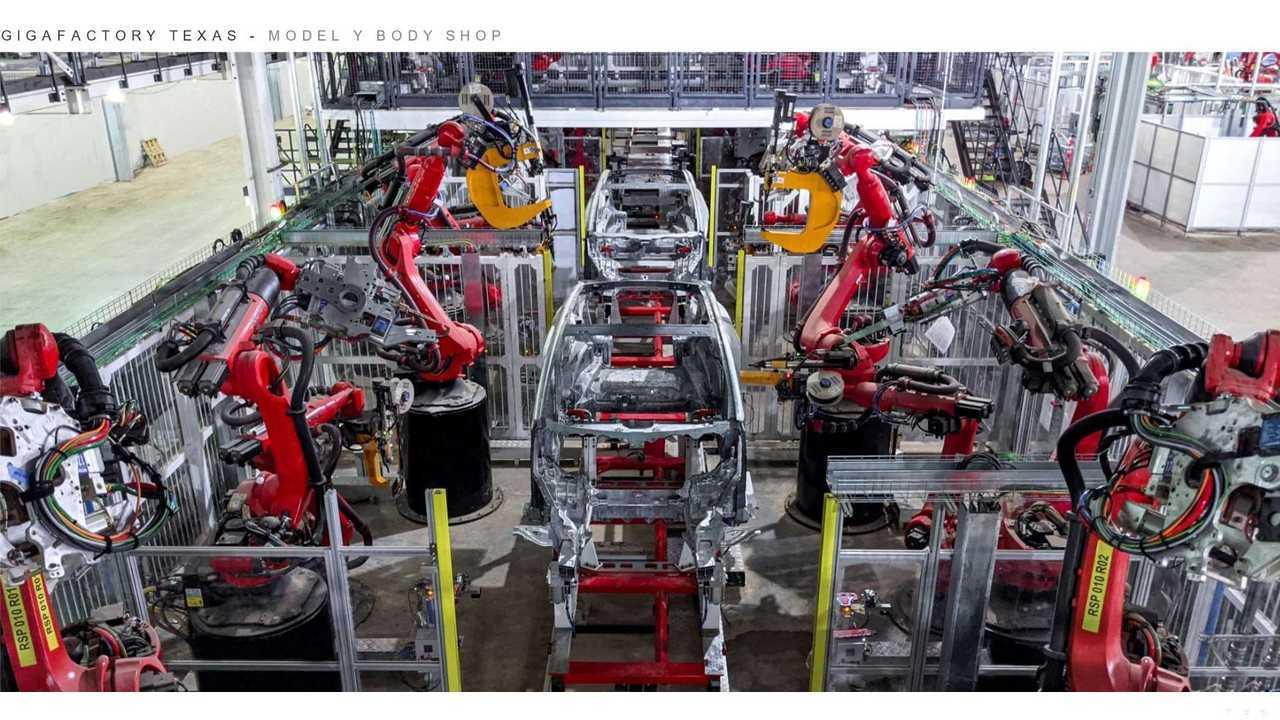 Tesla Giga Texas (Gigafactory 5) - Model Y body shop (Tesla Q2 2021 report)